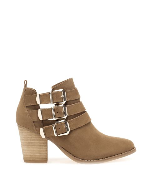 pull high heel ankle boots with buckle detail in