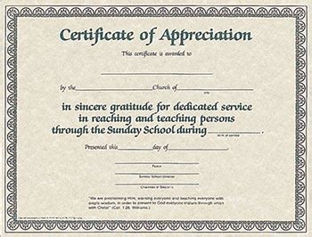 Certificate Of Appreciation For Sunday School Worker My Healthy Church 174 Broadman Church Supplies Template