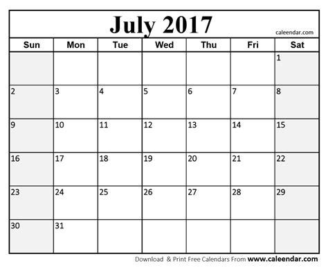 printable calendar 2017 horizontal july 2017 calendar templates caleendar com