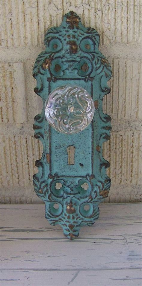Decorative Door Knob Plates by Vintage Inspired Decorative Cast Iron Door Plate And Glass
