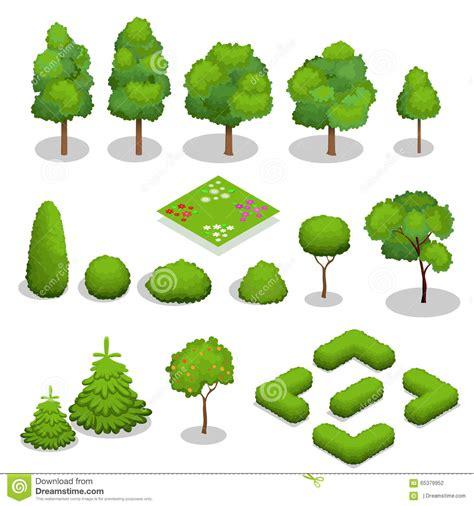 landscape design elements vector illustration isometric vector trees elements for landscape stock vector