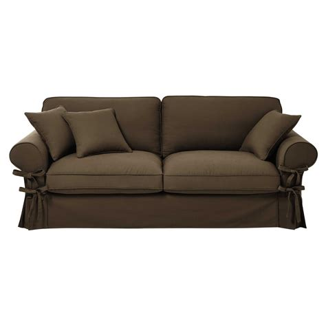 cotton sofas 3 4 seater cotton sofa in taupe butterfly maisons du monde