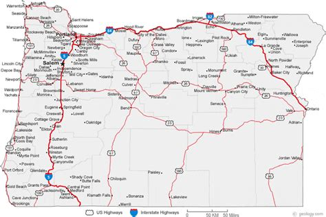 map  oregon cities oregon road map