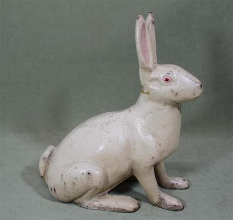 rabbit cast iron door stop large 10 5inch antique hubley cast iron white rabbit doorstop nr ebay