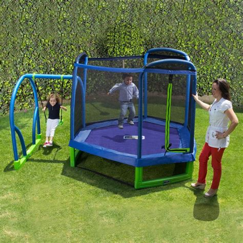jump swing swing set troline outdoor playground play swingset