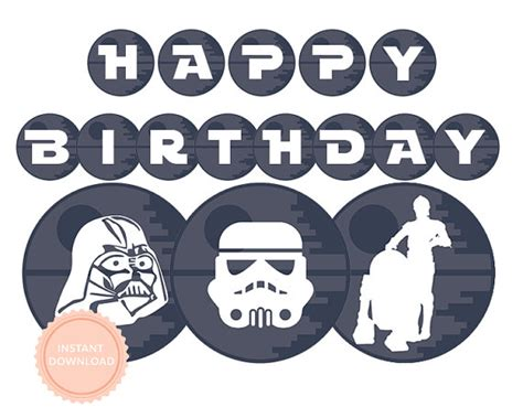 printable star wars happy birthday banner instant download star wars happy birthday banner star