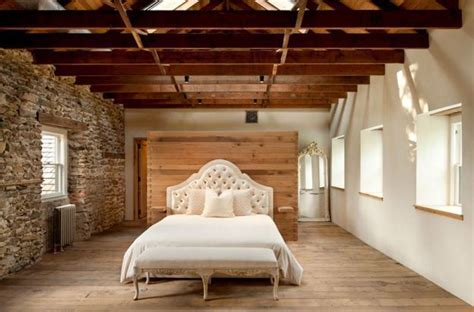 modern redesign country home antique stone walls exposed ceiling beams