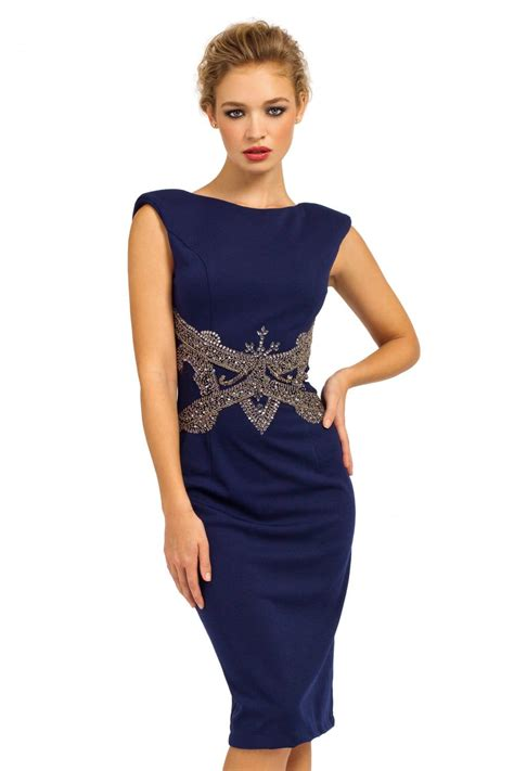 dress navy navy sleeveless embellished waist v back bodycon dress