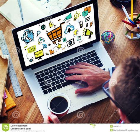 concept work businessman online marketing digital devices working concept