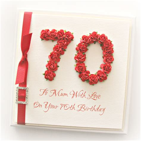 Handmade 70th Birthday Cards - 70th birthday card gift boxed paper roses the