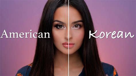 Set Make Up V Asia american vs korean makeup tutorial