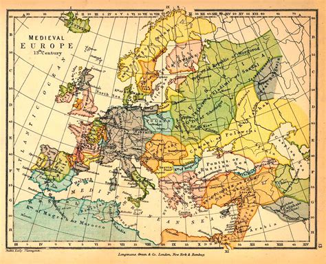 15 century map map of europe in the 13th century