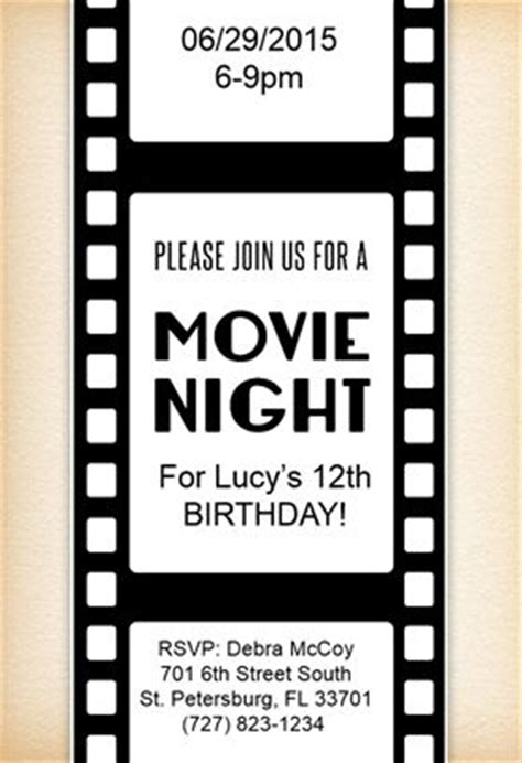 quot movie night quot printable invitation customize add text