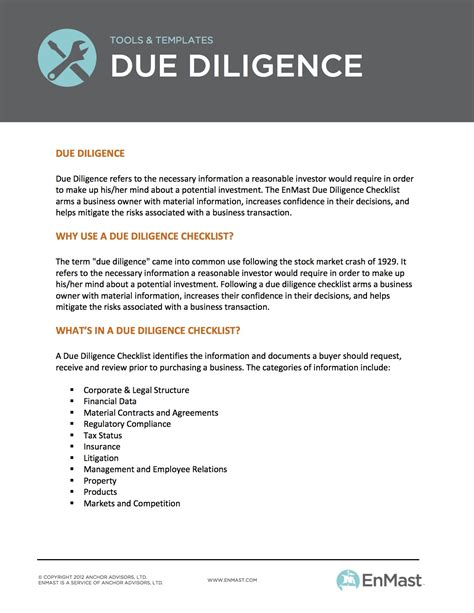 due diligence report template due diligence checklist a business owner s tool for