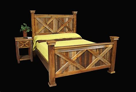 bed frame nightstand country rustic cabin log wood