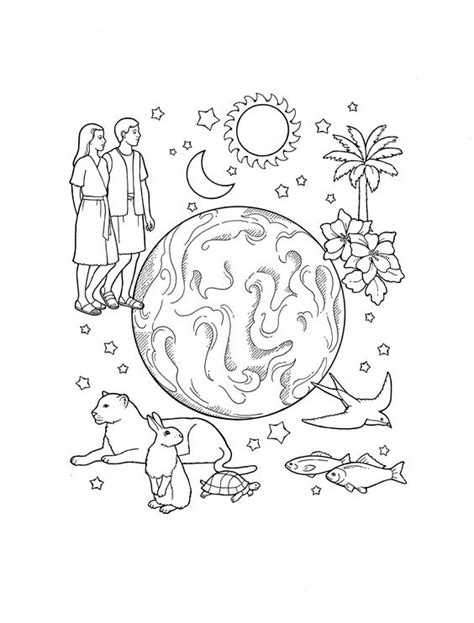the creation coloring page for kids bible lds