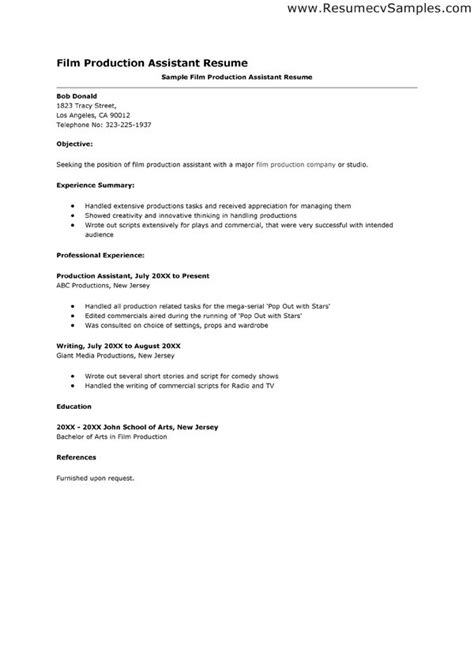 Production Cover Letter by Production Assistant Resume Sle Jennywashere