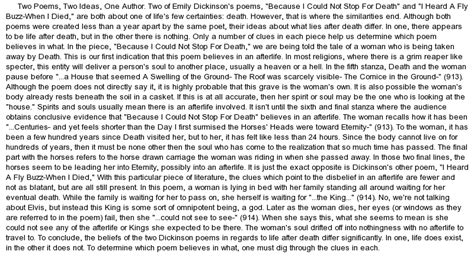 Emily Dickinson Poetry Essay by Comparison Of Two Poems By Emily Dickinson About At Essaypedia