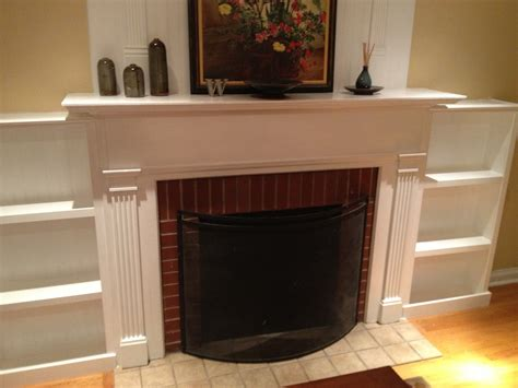 white fireplace facelift built in bookcases diy