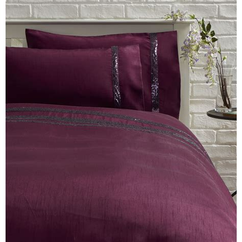 Plum Quilt Covers by Wilko Duvet Set King Sequin Border Plum At Wilko