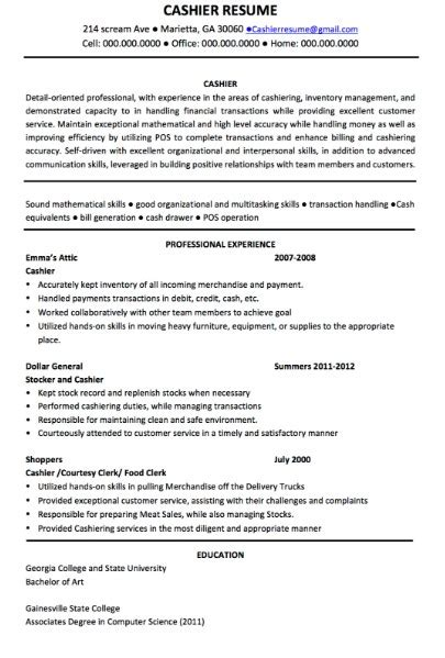 cashier description for resume sle resume cover letter format