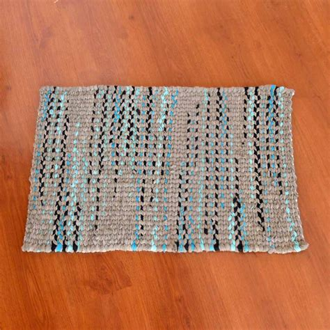twined rag rugs soft grey and electric blue twined rag rug