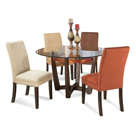 Round Glass Dining Room Sets | bassett mirror elation 5 piece round glass top dining room set beyond stores