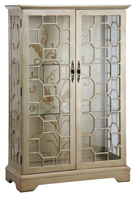 Glass Door Curio Cabinet Metallic Curio Cabinet From Steinworld 47778 Coleman Furniture