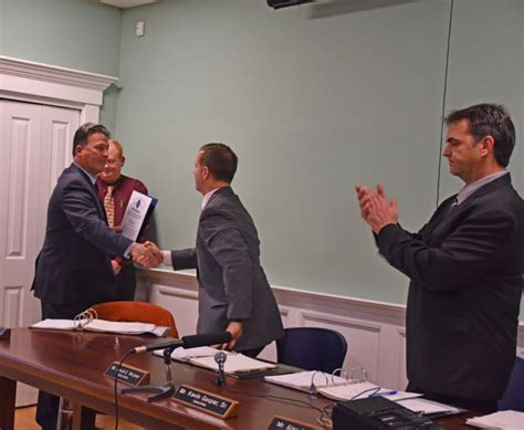 Town Of Acushnet Ma Property Records Selectman David Wojnar Accepting A Citation From Senator Montigny Acushnet Ma