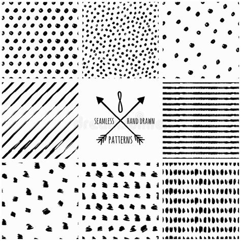 black and white ink patterns set of vector abstract hand drawn seamless patterns stock