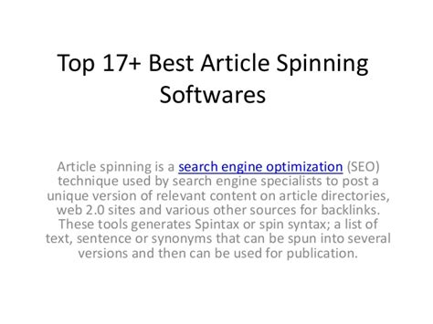 Search Engine Optimization Articles - top 17 best article spinner softwares tools
