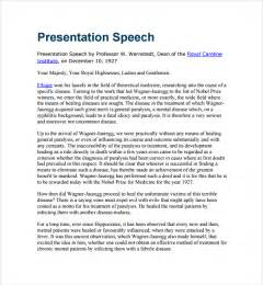 award speech template sle presentation speech exle template 7 free