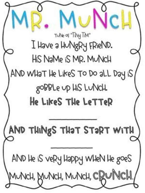 up letter poem mr munch letter sound muncher poem preschool items