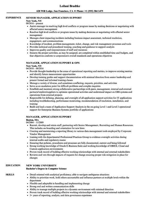 manager application support resume sles velvet