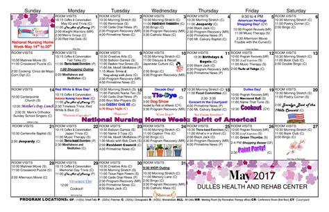 Dulles Calendar Dulles Health Rehab Center Activity Calendar May