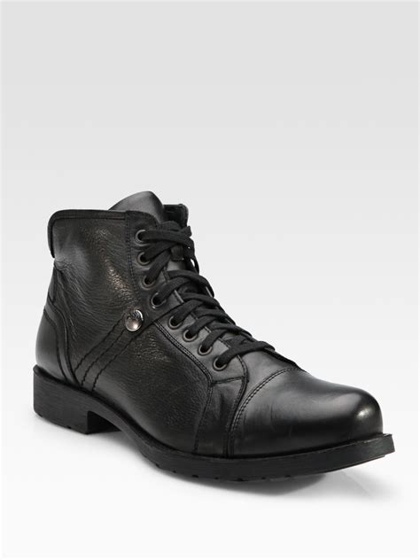 versace boots for versace lace up leather ankle boots in black for lyst