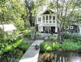 Chandelier With Fabric Shade Coastal Muskoka Living Interior Design Ideas Home Bunch