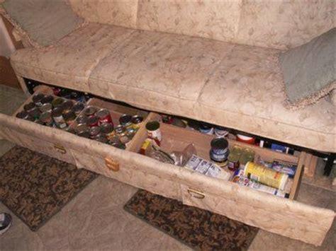 under couch storage ideas rv sofa with tote storage bus ideas pinterest