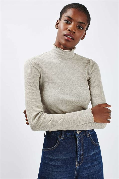 sleeve frilled top sleeve frill neck top tops clothing topshop