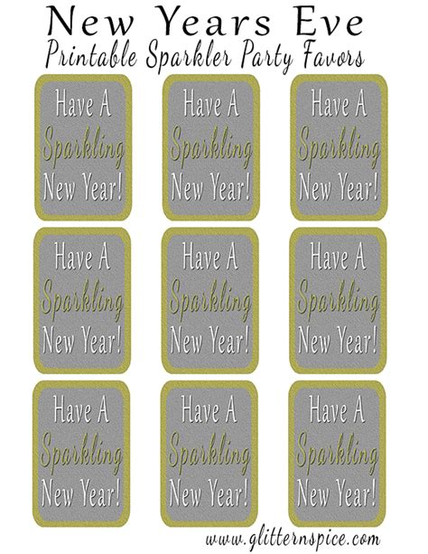 printable new year tags sparkling new years eve party favors glitter n spice