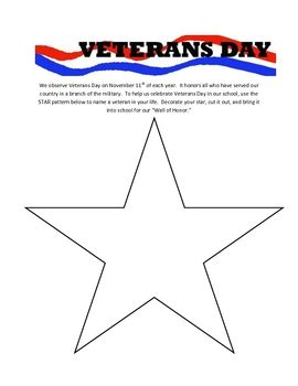 Veterans Day Wall Of Honor Star Template Holiday Pinterest Star Template Teacher Created Veterans Day Program Template