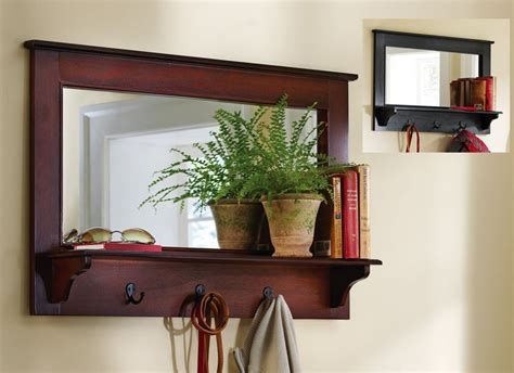 entry way shelf large entryway wooden wall mirror shelf and coat rack
