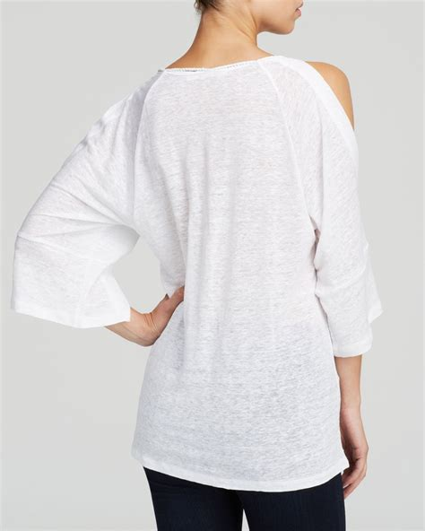 Moon Mooneyes Checker Sleeve White lyst moon meadow cold shoulder linen top in white