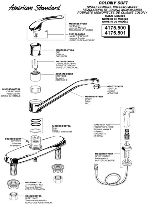 american standard kitchen faucet parts diagram american standard kitchen faucets excellent colony single