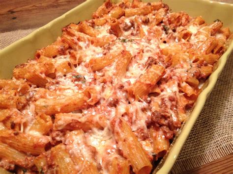 headspace baked ziti with meat sauce ricotta and mozzarella