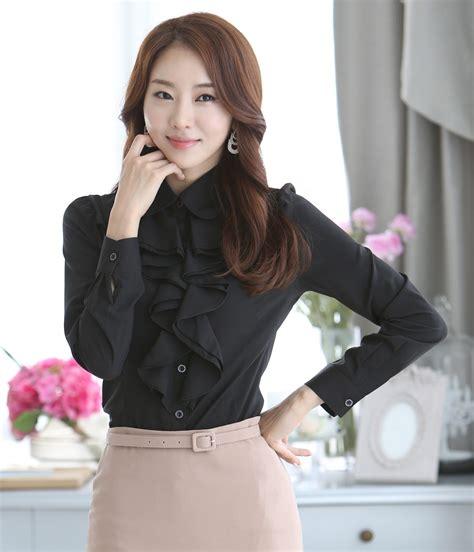 kemeja chiffon korea import bl3079 black tamochi