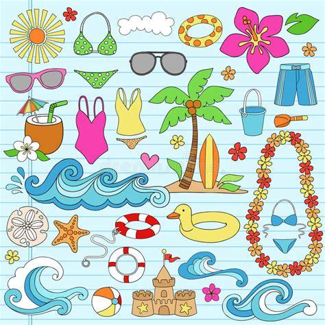 summer doodle free vector summer hawaiian vacation doodles vector stock vector