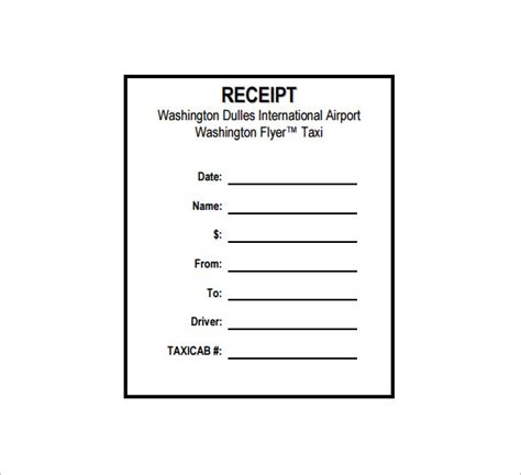 tax receipt template word taxi receipt template 20 free word excel pdf format