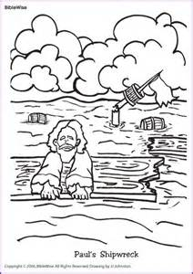 coloring paul s shipwreck kids korner biblewise