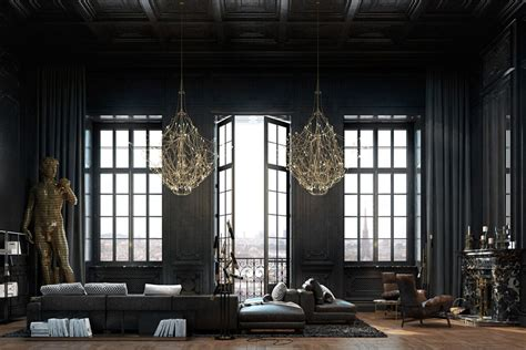luxury apartment a parisian style beautiful black interior showcased in a historic